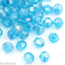 LOVE Acrylic Spacer Beads Findings Faceted Round Ball Lake Blue 6x6mm 2500x