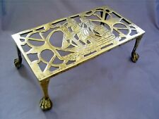 1930's VINTAGE ART DECO PIERCED BRASS SHIP/GALLEON TRIVET WITH BALL & CLAW FEET