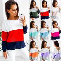 UK Womens Long Sleeve Color Block Stripe Tee Shirt Tops Ladies Blouse Sweatshirt