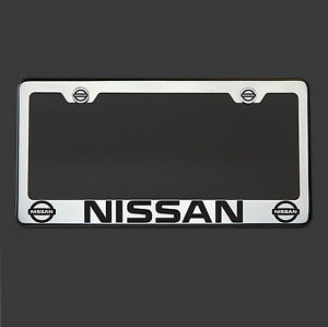 Polish Mirror Stainless Steel Fit Nissan Black Laser Etched License Plate Frame