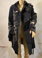 Burberry Sandringham Women Cashmere / Wool Trench Coat Navy Blue Size UK 6 NWT
