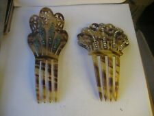 2 1940's VINTAGE TORTOISE SHELL COLOR CELLULOID & RHINESTONES LADIES HAIR COMBS