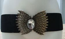 Toller Stretch Gürtel  schwarz mit bronzefarbener großer Schnalle neu