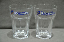 Pair Of (2) Hoegaarden Belgian Beer Half Pint Glasses Hexagonal Base Genuine New