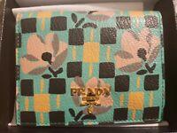Women's Green Multicolor Floral Prada Leather Wallet