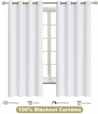 Blackout Curtain White Window Grommet Thermal Insulated Set Of 2 Panels