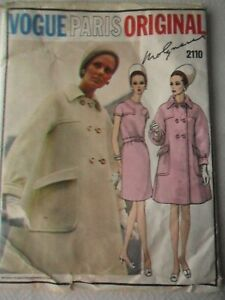 Vintage 1960s  VOGUE Paris Original Pattern - One-Piece Dress & Coat