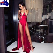 Side Split Slit maxi dress evening v neck spaghetti strap party elegant satin