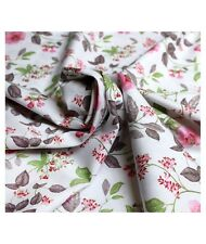 White cotton FLORAL PRINTED**SPANISH FABRIC**PER HALF METRE 50cm DRESS or BLOUSE