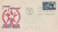 SEUL SUR LETTRE LETTER PREMIER JOUR FIRST DAY TEXAS CENTENNIAL 1845-1945