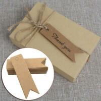 100* Thank You Wedding Kraft Paper Tag Favor Gift Wrap Candy Box Packing Label