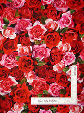 Valentines Day Sweetheart Love Rose Cotton Fabric Red Rooster 26401 Roses - Yard