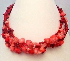 Exquisite 3 Strand Red & Pink CORAL Flowers Necklace HandMade Original ~ DKC