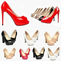 Women Faux Leather Round Peep Toe Stiletto High Heels Pumps Platform Shoes size