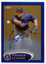 Yonder Alonso 2012 Topps Chrome Rookie On Card Blue Refractor AUTOGRAPH #d /199
