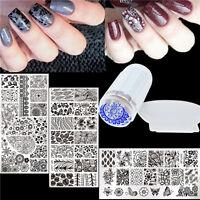 5Pcs Born Pretty Nail Art Stamping Plates Stamper Scraper Flower Leaf Design Set