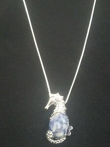 Sodalite Sea Horse Necklace Gemstone Pendant on Sterling Silver Chain