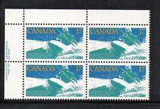 CANADA 1979 833 17¢ Stamp SPORT WHITE WATER RACE Canoe Kayak UL Plate Block MNH