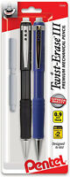 Pentel Twist-Erase III Automatic Pencil With 2 Eraser Refills, 0.9mm, Assorted B
