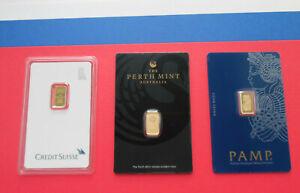 3 Lot 1 Gram Each Fine Gold Bar Perth Mint Credit Suisse Pamp Lady Fortuna Assay
