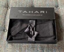 Nib Tahari 100% Cashmere Scarf & Glove Set Black Cable Pattern BB5
