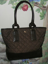 BURBERRY Quilted Nylon / Brown Patent Leather Shopper Large Weekend Tote Bag