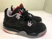Nike Air Jordan 4 Retro Bred PS Black Fire Red Grey BQ7669 060 Size 11c Kids