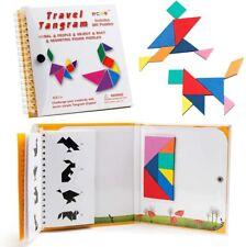 Coogam Travel Tangram Puzzle - Magnetic Pattern Block Book Road Trip Game Jigsaw