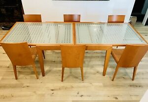 Italian Calligaris Glass Contemporary EXPANDING Dining Table With 6 Chairs