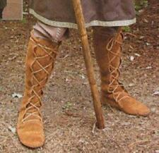 Medieval Suede Tall Boots -12 -Men Brown role play Renaissance lace up Costume