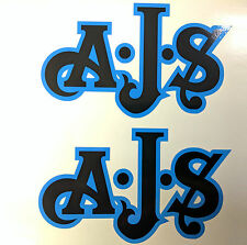 AJS London Stickers x2 A.J.S Decal Tank Motorcycle Vintage Black & Olympic Blue