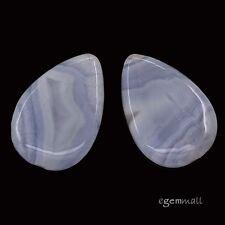 2 Blue Chalcedony Agate Flat Pear Pendant Beads ap. 20x30mm #59078