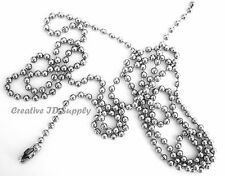 "15 BALL CHAIN NECKLACES 30"" Nickel Plated 2.4mm beads MADE IN USA"