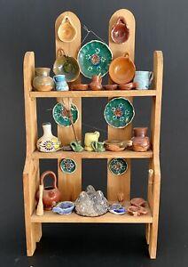 Vintage Miniature Folk Art Mexican Pottery Shelf Plates Bowls Cups