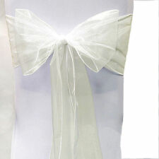 """200 Organza Chair Cover Sash Bows 8""""x108"""" 30 Colors Extra Wide Wedding Party"""