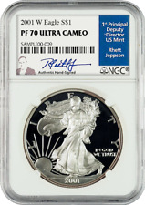 2001 American Silver Eagles W PF 70 Ultra Cameo signed by Rhett Jeppson