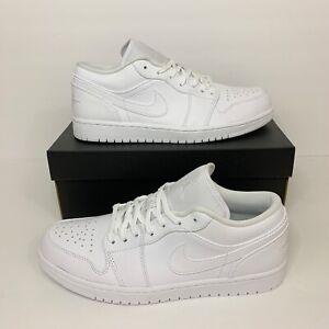 New Nike Air Jordan 1 Low Triple White #553558-130 Sneakers US Men's