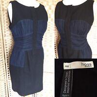 "HOSS INTROPIA Black Sleeveless PENCIL Dress Sz 14 L35"" POCKETS Navy Net PARTY B6"