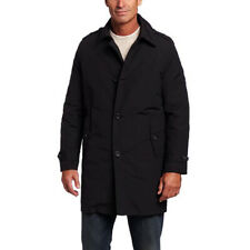 Tommy Hilfiger Mens Black Trench Coat Rain Jacket with...