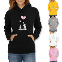 Women Hooded Sweatshirt Print Tops Long Sleeve Casual Hoodies Jumper Pullover AU