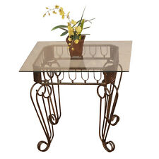 Antique Style Side Table Vintage Side Stand Metal iron Glass Brown Gold Colour