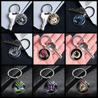 NFL Football Team Logo Gloves Key Pendants Glass Keychains Gifts Silver Keyring