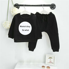2PCS Toddler Kids Baby Girl Boy Tracksuit Outfits T-shirt Tops Long Pants Set US