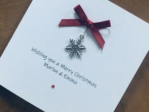 Personalised Handmade Christmas Cards - Snowflake Charm 13.5cm X 13.5cm