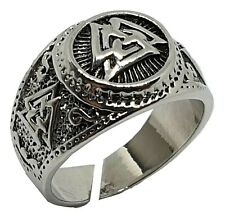 Viking Ring Warrior Valknut Odin Rune Norse Nordic Silver Tone Adjustable Pagan