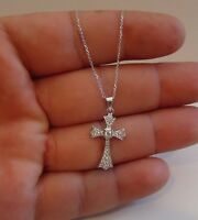 925 STERLING SILVER DANGLING CROSS NECKLACE PENDANT W/ .75 LAB DIAMONDS / 18''