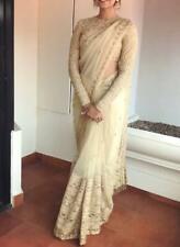 White Resham Stone Work Net Embroidered Sari Saree Indian Designer Lehenga Choli