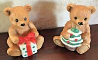 Vintage Homco Home Interiors Porcelain Christmas Bears Set of 2 Figurines 3 1/4""
