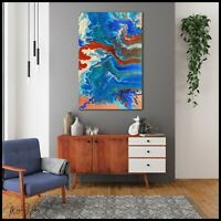 FRAMED Abstract Modern Blue Canvas Painting Wall Art Signed Artist USA X Willis