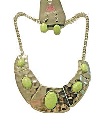 Paparazzi Necklace/Earrings Set Green Stone Hammered Silver Bib Statement New